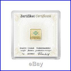 1 gram Geiger original square. 999 fine gold bar in capsule