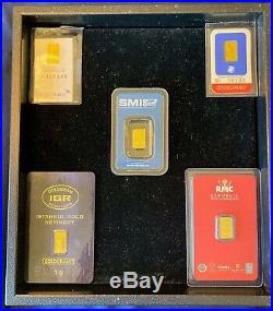 1 gram Gold Bar 999.9 Fine in Assay Card, Multiple Brands