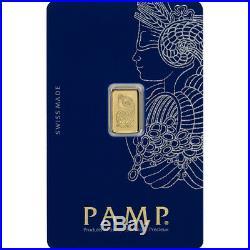 1 gram Gold Bar PAMP Suisse Fortuna 999.9 Fine in Assay Five 5 Bars