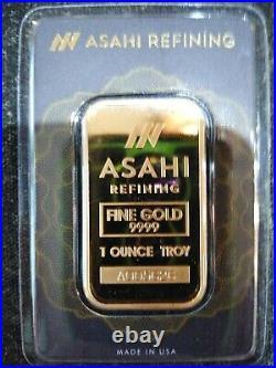 1 oz 0.9999 Fine Gold Bar (Sealed in Assay) Asahi Refining
