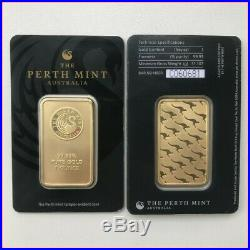 1 oz. 9999 Fine 24 Karat Gold Bar Perth Mint Unopened with Assay Certificate