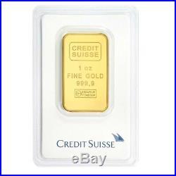 1 oz Credit Suisse Gold Bar. 9999 Fine (In Assay)