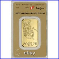 1 oz Gold Bar Argor Heraeus 2020 Lunar Year of the Rat 999.9 Fine in Assay