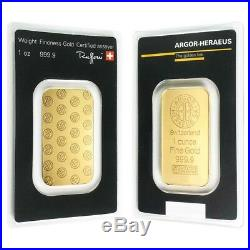 1 oz Gold Bar Argor-Heraeus. 9999 Fine (In Assay)