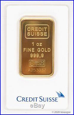 1 oz Gold Bar Credit Suisse. 9999 Fine Gold Bar In Assay