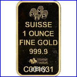 1 oz. Gold Bar PAMP Suisse Roman Cross 999.9 Fine in Assay