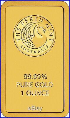 1 oz Gold Bar Perth Mint. 9999 Fine Gold Bar In Assay