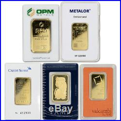1 oz. Gold Bar Random Brand Secondary Market 999.9 Fine in Assay