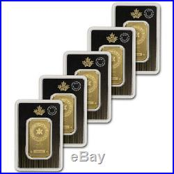 1 oz. Gold Bar Royal Canadian Mint (RCM). 9999 Fine in Assay Five 5 Bars