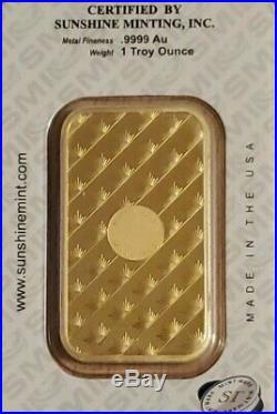 1 oz Gold Bar SMI Sunshine Minting, inc (In Assay Card). 9999 Fine Gold