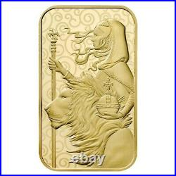 1 oz Great Britain Una and the Lion Gold Bar. 9999 Fine The Great Engravers