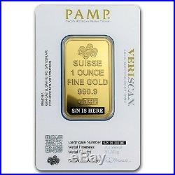 1 oz Pamp Suisse Gold Bar. 9999 Fine Gold With Assay Fortuna Design