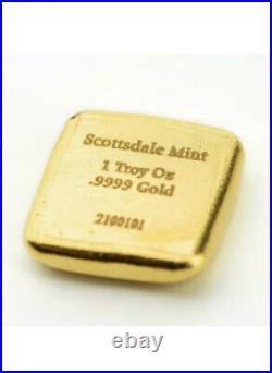 1 oz Scottsdale Mint Lion Cast Gold Bar. 9999 Fine Gold