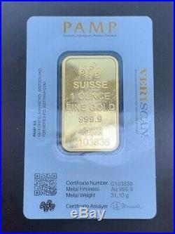 1 oz. Suisse Gold Bar PAMP Fortuna 999.9 Fine