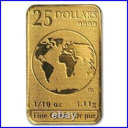 2016 $25 Royal Canadian Mint Gold Bar Coin 1/10 oz (BU) 24KT. 9999 Fine Gold