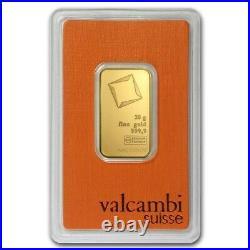 20 Gram Valcambi Suisse. 9999 Fine Gold Bar in Assay
