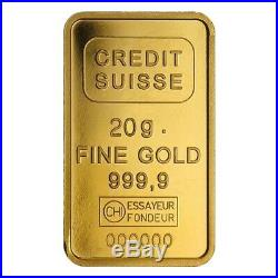 20 gram Credit Suisse Statue of Liberty Gold Bar. 9999 Fine (In Assay)