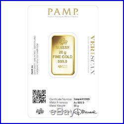 20 gram Gold Bar PAMP Suisse Lady Fortuna Veriscan. 9999 Fine (In Assay)