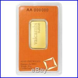 20 gram Gold Bar Valcambi Suisse. 9999 Fine (In Assay)