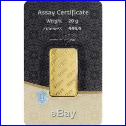 20 gram IGR Gold Bar Istanbul Gold Refinery 999.9 Fine in Sealed Assay
