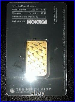 20 gram Perth Mint Gold Bar 99.99 Fine in Assay
