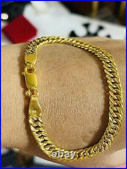 22K Pure Yellow Saudi Gold Fine 916 Womens cuban Bracelet 7.5 long 6.5mm 9.4g