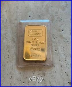 24K Pure Gold Credit Suisse 20 Grams Fine Gold Bar 999.9 In Plastic Cover