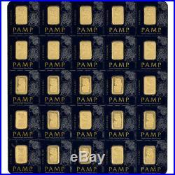 25x1 gram Gold Bar PAMP Suisse Fortuna 999.9 Fine in Sealed Assay