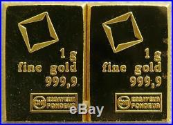 (2) 1 Gram Fine Gold Bar Assayed. 9999 Pure Fine Bullion Valcambi Suisse Swiss