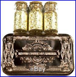 (2) 1 Ounce. 999 Fine Copper $2 Silver Certificate Bars + 3 Jars 24k Gold Flakes