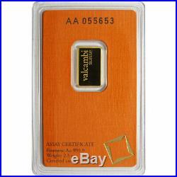 2.5 Gram Valcambi. 9999 Fine Gold Bar in Assay