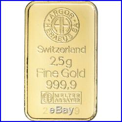 2.5 gram Gold Bar Argor Heraeus 999.9 Fine in Assay