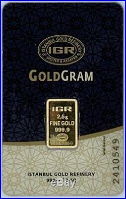 2.5 gram IGR Gold Bar 999.9 Fine in Sealed Assay Card