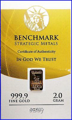 2 GRAM GOLD 24 CARAT CERTIFIED. 999 FINE GOLD PURE GOLD BULLION INGOT D21b