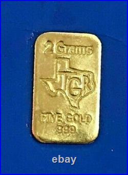 2 GRAM GOLD TGR BAR 24K PREMIUM BULLION 999.9 FINE INGOT Bin29