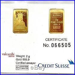 2 Gram CREDIT SUISSE-VALCAMBI SUISSE MTB 24KT. 9999 Fine Gold Bar In Assay