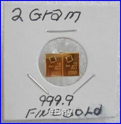 2 Grams 24 Kt. Gold 2 1 Gram Valcambi 999.9 Fine Gold Bars Essayeur Fondeur