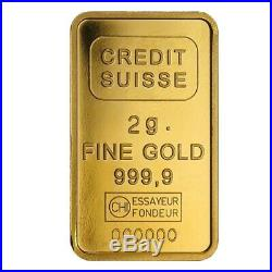 2 gram Credit Suisse Statue of Liberty Gold Bar. 9999 Fine (In Assay)