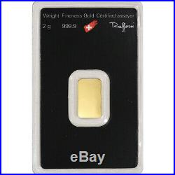 2 gram Gold Bar Argor Heraeus 999.9 Fine in Assay