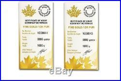 2 kilo (PAIR) Royal Canadian Mint RCM Gold Bar. 9999 Fine