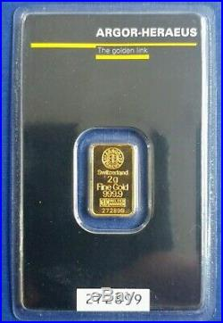 2g Argor Heraeus Gold Bar Kinebar Bullion / Fine 24ct Gold / New & Sealed
