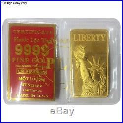 37.5 gram Vietnamese Mot Luong Statue of Liberty Gold Bar. 9999 Fine (withAssay)