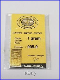 3.5 gram Istanbul Gold Refinery Bar. 9999 Fine