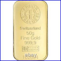 50 gram Gold Bar Argor Heraeus Kinebar Hologram 999.9 Fine in Assay