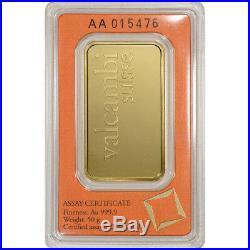 50 gram Gold Bar Valcambi Suisse 999.9 Fine in Sealed Assay
