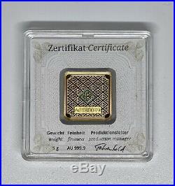 5 Gram. 999 Fine Gold Bullion Bar GEIGER EDELMETALLE Original Square 2018