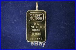 5 Gram Credit Suisse. 9999 Fine Gold Bar Pendant