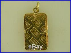 5 Gram Credit Suisse 999.9 fine gold bar With 18k Pendant Frame