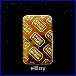 5 Gram Solid Fine Gold Bar Suisse Credit 999.9