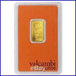 5 Gram Valcambi. 9999 Fine Gold Bar in Assay
